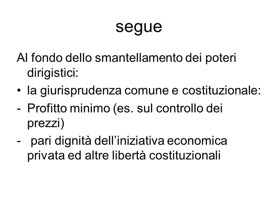 segue Al fondo dello smantellamento dei poteri dirigistici: la giurisprudenza comune e costituzionale: -Profitto minimo (es. sul controllo dei prezzi)