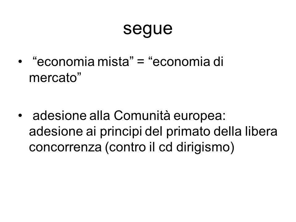 """segue """"economia mista"""" = """"economia di mercato"""" adesione alla Comunità europea: adesione ai principi del primato della libera concorrenza (contro il cd"""