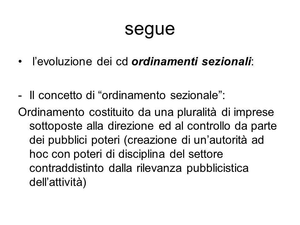 """segue l'evoluzione dei cd ordinamenti sezionali: -Il concetto di """"ordinamento sezionale"""": Ordinamento costituito da una pluralità di imprese sottopost"""