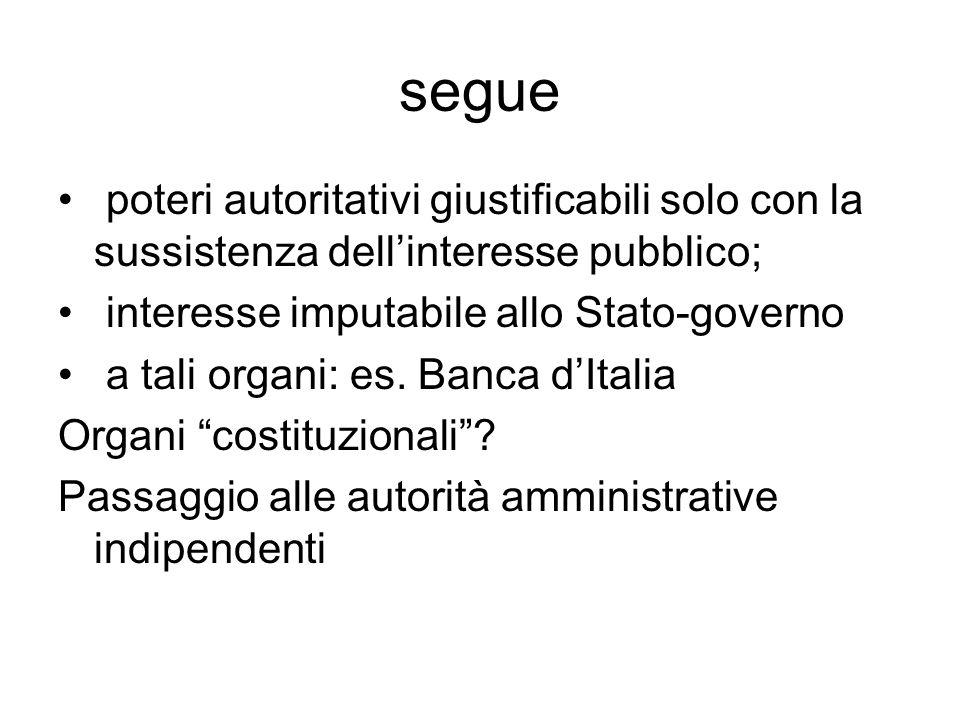 segue poteri autoritativi giustificabili solo con la sussistenza dell'interesse pubblico; interesse imputabile allo Stato-governo a tali organi: es. B