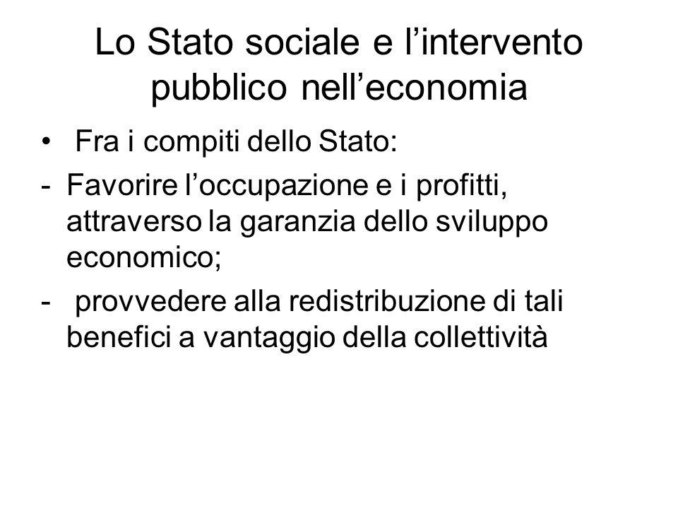 Lo Stato sociale e l'intervento pubblico nell'economia Fra i compiti dello Stato: -Favorire l'occupazione e i profitti, attraverso la garanzia dello s