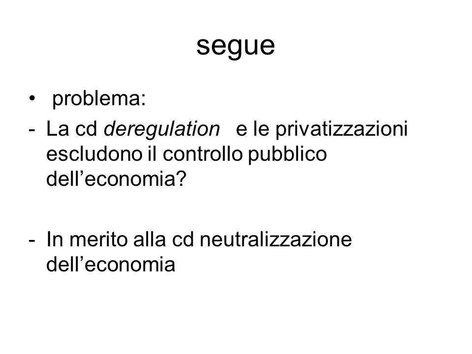 segue problema: -La cd deregulation e le privatizzazioni escludono il controllo pubblico dell'economia? -In merito alla cd neutralizzazione dell'econo