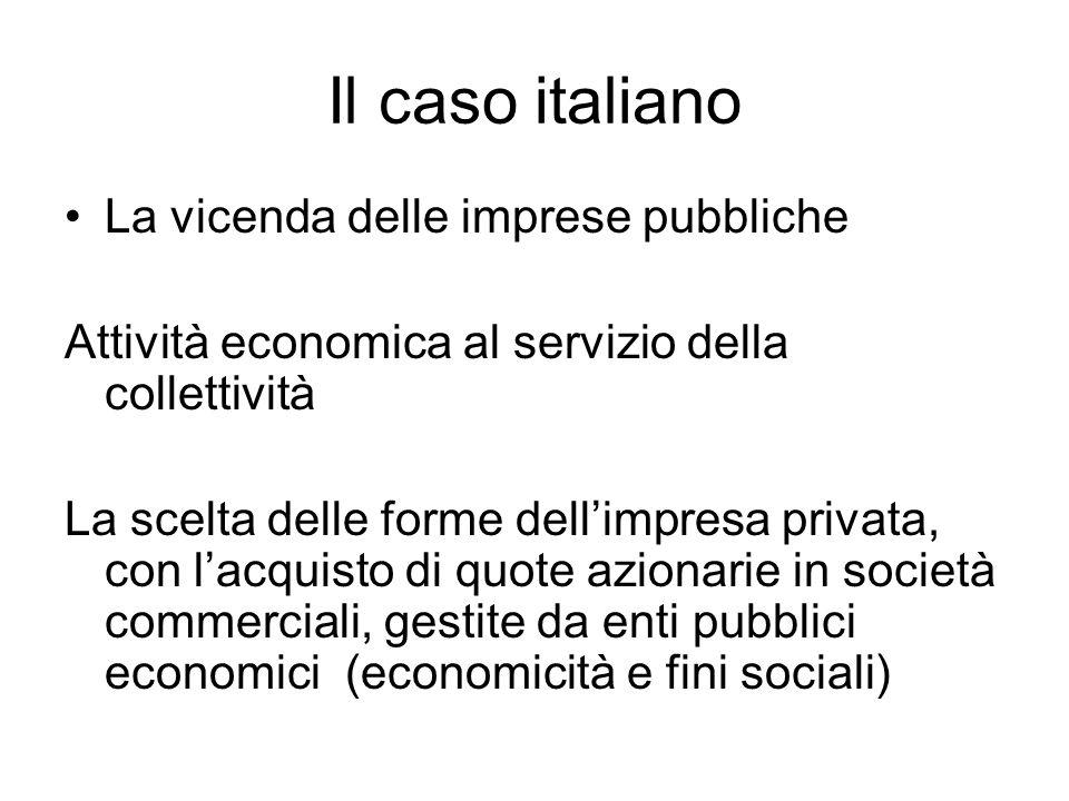 Il caso italiano La vicenda delle imprese pubbliche Attività economica al servizio della collettività La scelta delle forme dell'impresa privata, con