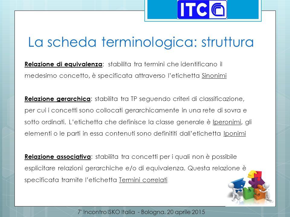 7' Incontro ISKO Italia - Bologna, 20 aprile 2015 La scheda terminologica: struttura Relazione di equivalenza : stabilita tra termini che identificano