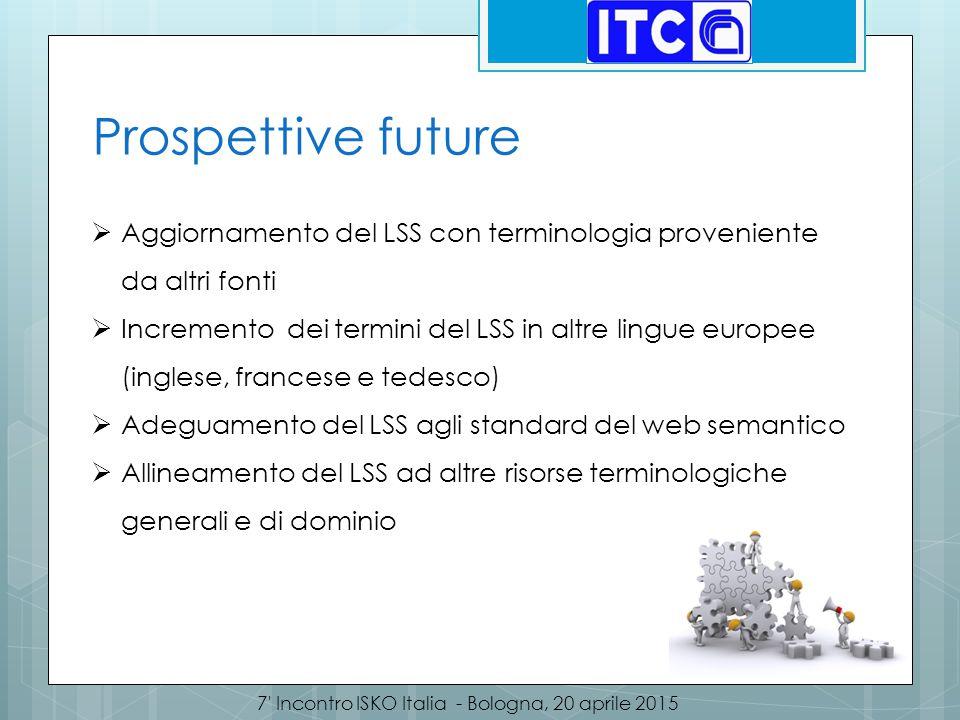 7' Incontro ISKO Italia - Bologna, 20 aprile 2015 Prospettive future  Aggiornamento del LSS con terminologia proveniente da altri fonti  Incremento
