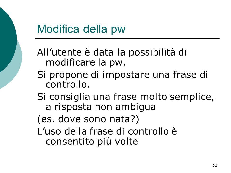 24 Modifica della pw All'utente è data la possibilità di modificare la pw. Si propone di impostare una frase di controllo. Si consiglia una frase molt