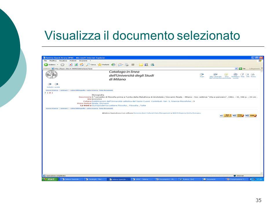 35 Visualizza il documento selezionato