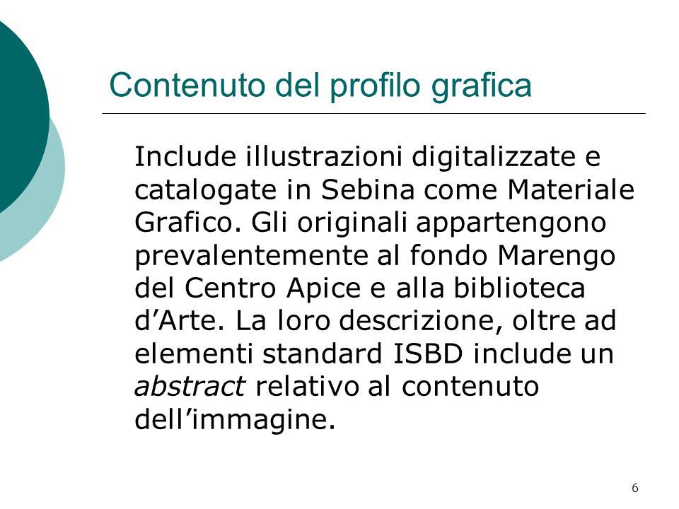 6 Contenuto del profilo grafica Include illustrazioni digitalizzate e catalogate in Sebina come Materiale Grafico. Gli originali appartengono prevalen