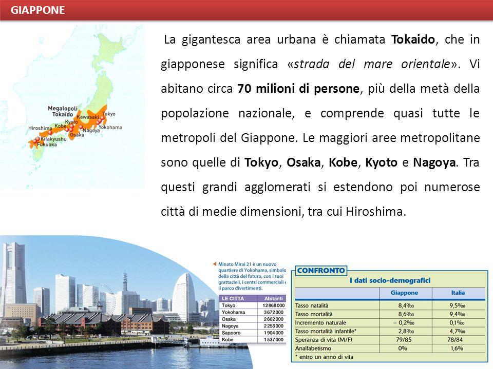 La gigantesca area urbana è chiamata Tokaido, che in giapponese significa «strada del mare orientale». Vi abitano circa 70 milioni di persone, più del