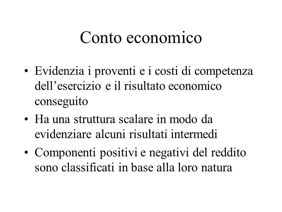 Conto economico Evidenzia i proventi e i costi di competenza dell'esercizio e il risultato economico conseguito Ha una struttura scalare in modo da ev