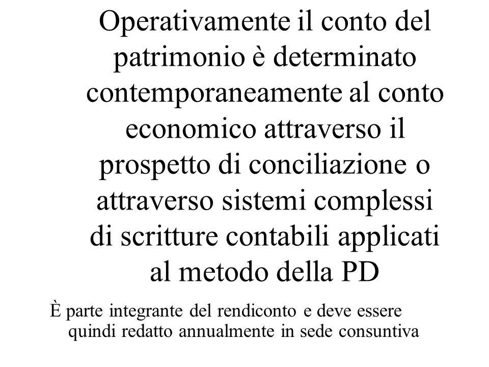 Operativamente il conto del patrimonio è determinato contemporaneamente al conto economico attraverso il prospetto di conciliazione o attraverso siste