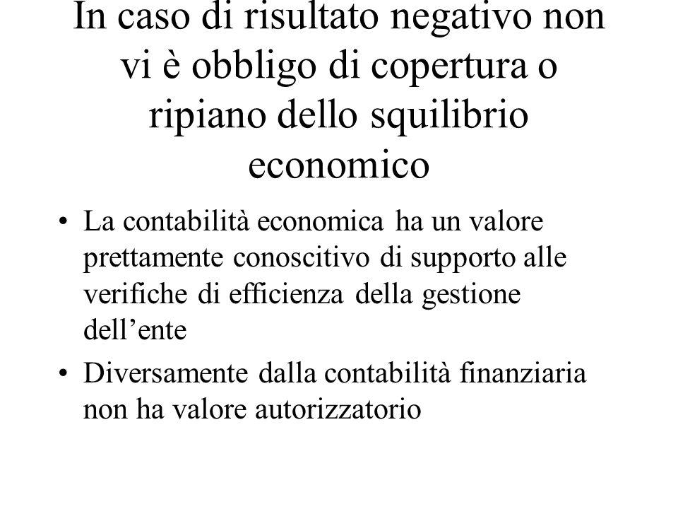 In caso di risultato negativo non vi è obbligo di copertura o ripiano dello squilibrio economico La contabilità economica ha un valore prettamente con