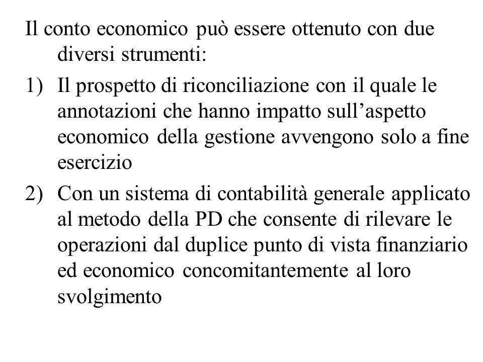 Il conto economico può essere ottenuto con due diversi strumenti: 1)Il prospetto di riconciliazione con il quale le annotazioni che hanno impatto sull