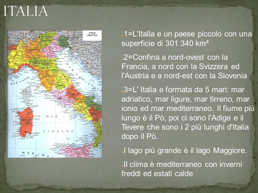 ● 1=L Italia e un paese piccolo con una superficie di 301 340 km² ● 2=Confina a nord-ovest con la Francia, a nord con la Svizzera ed l Austria e a nord-est con la Slovenia ● 3=L Italia e formata da 5 mari: mar adriatico, mar ligure, mar tirreno, mar ionio ed mar mediterraneo.