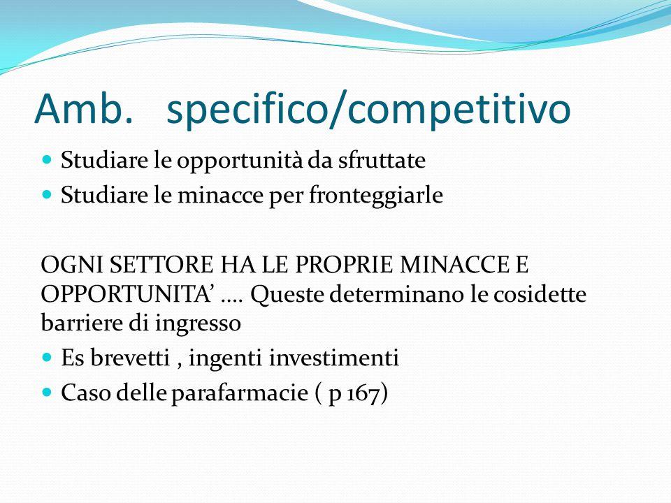 Amb. specifico/competitivo Studiare le opportunità da sfruttate Studiare le minacce per fronteggiarle OGNI SETTORE HA LE PROPRIE MINACCE E OPPORTUNITA