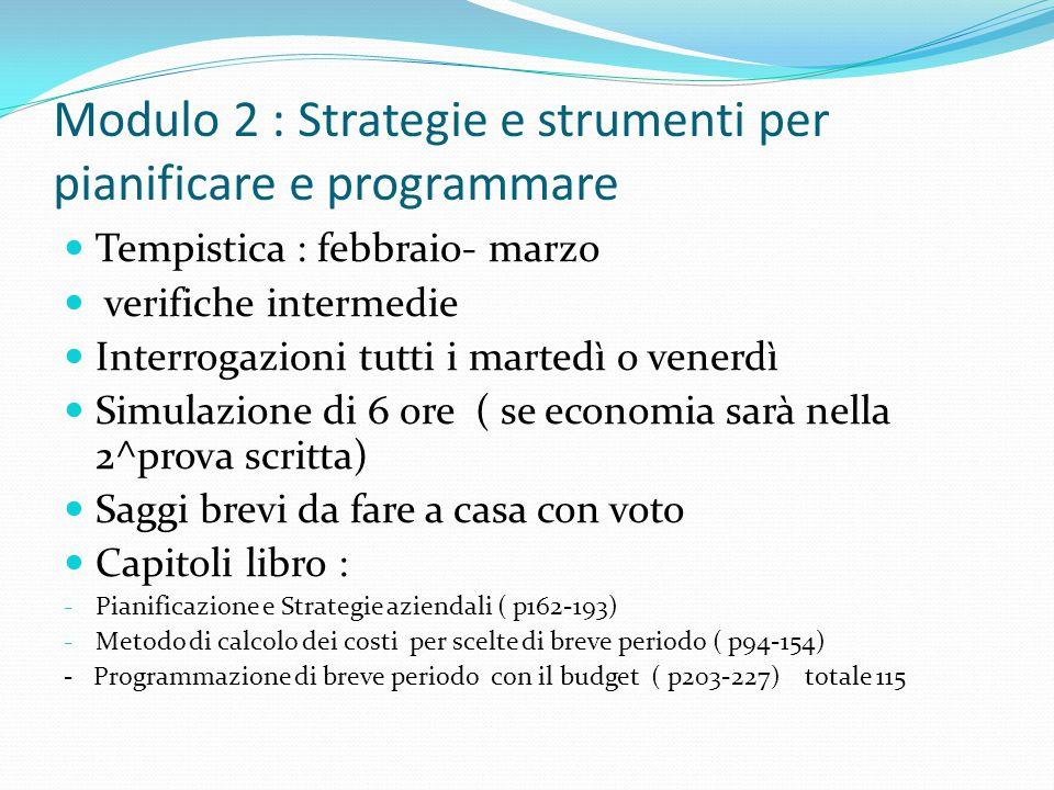 Modulo 2 : Strategie e strumenti per pianificare e programmare Tempistica : febbraio- marzo verifiche intermedie Interrogazioni tutti i martedì o vene
