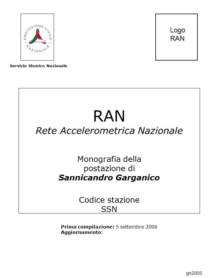 RAN Rete Accelerometrica Nazionale Monografia della postazione di Sannicandro Garganico Codice stazione SSN Prima compilazione: 5 settembre 2006 Aggiornamento: Servizio Sismico Nazionale Logo RAN gn2005