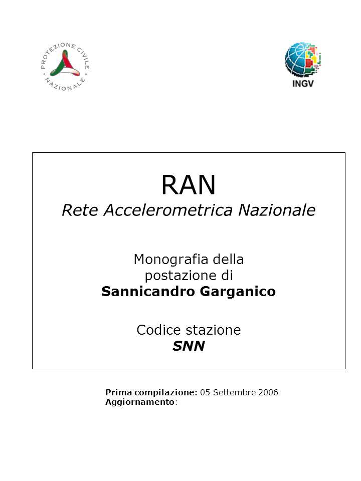 RAN Rete Accelerometrica Nazionale Monografia della postazione di Sannicandro Garganico Codice stazione SNN Prima compilazione: 05 Settembre 2006 Aggiornamento: