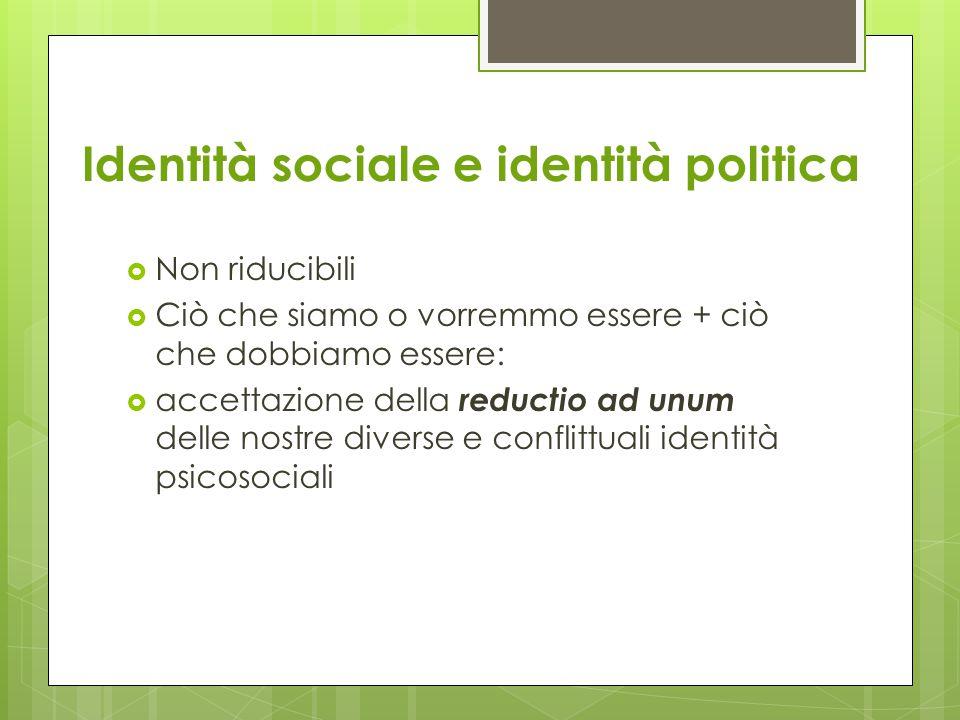 Identità sociale e identità politica  Non riducibili  Ciò che siamo o vorremmo essere + ciò che dobbiamo essere:  accettazione della reductio ad unum delle nostre diverse e conflittuali identità psicosociali