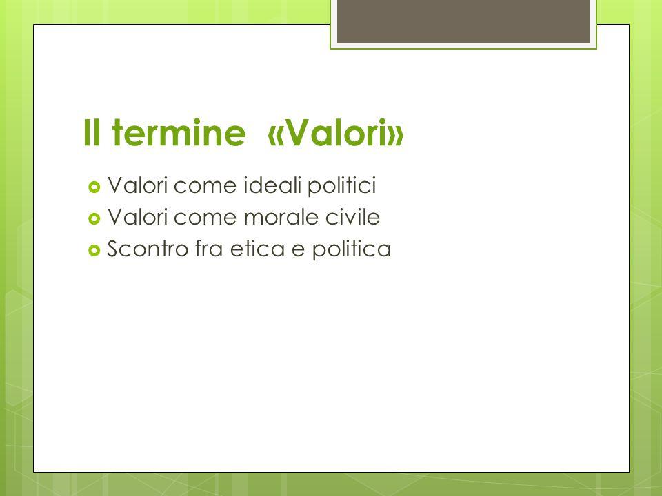 Il termine «Valori»  Valori come ideali politici  Valori come morale civile  Scontro fra etica e politica