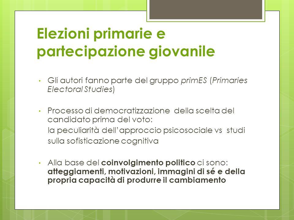 La scelta La possibilità della scelta motiva l'elettore Partecipazione come: - Esserci; - Appartenere; - Agire