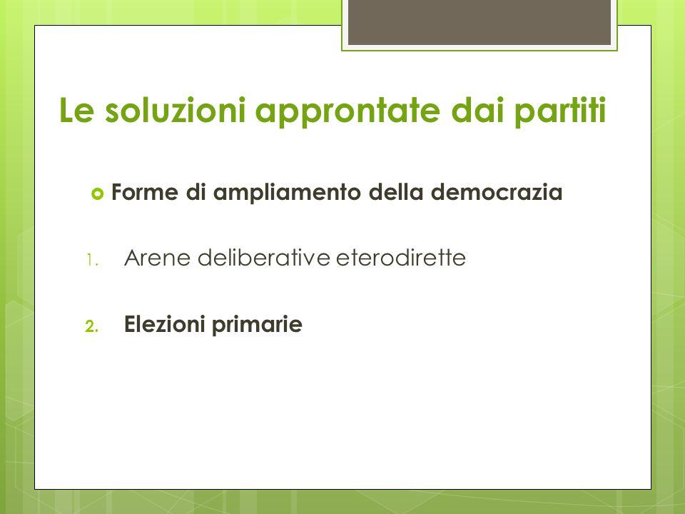 Le soluzioni approntate dai partiti  Forme di ampliamento della democrazia 1.