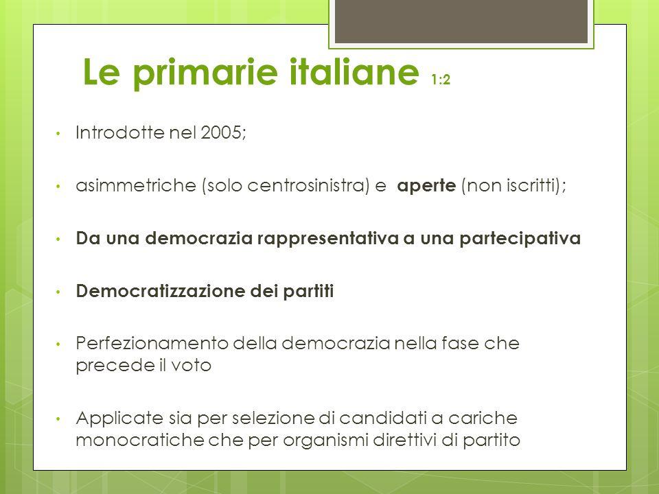 Le primarie italiane 1:2 Introdotte nel 2005; asimmetriche (solo centrosinistra) e aperte (non iscritti); Da una democrazia rappresentativa a una partecipativa Democratizzazione dei partiti Perfezionamento della democrazia nella fase che precede il voto Applicate sia per selezione di candidati a cariche monocratiche che per organismi direttivi di partito