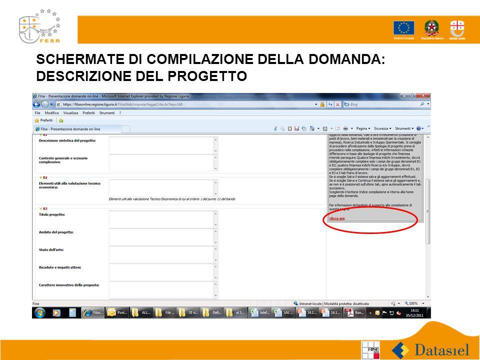 SCHERMATE DI COMPILAZIONE DELLA DOMANDA: DESCRIZIONE DEL PROGETTO