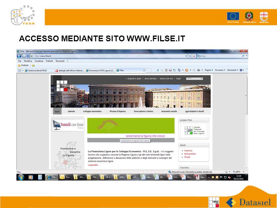 ACCESSO MEDIANTE SITO WWW.FILSE.IT