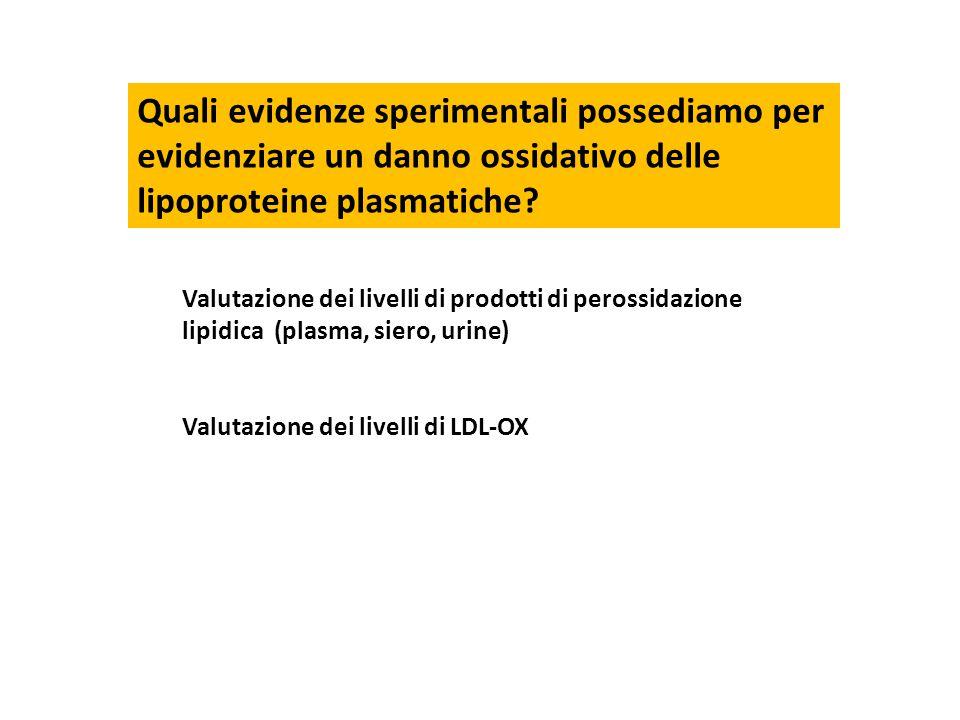 Quali evidenze sperimentali possediamo per evidenziare un danno ossidativo delle lipoproteine plasmatiche? Valutazione dei livelli di prodotti di pero