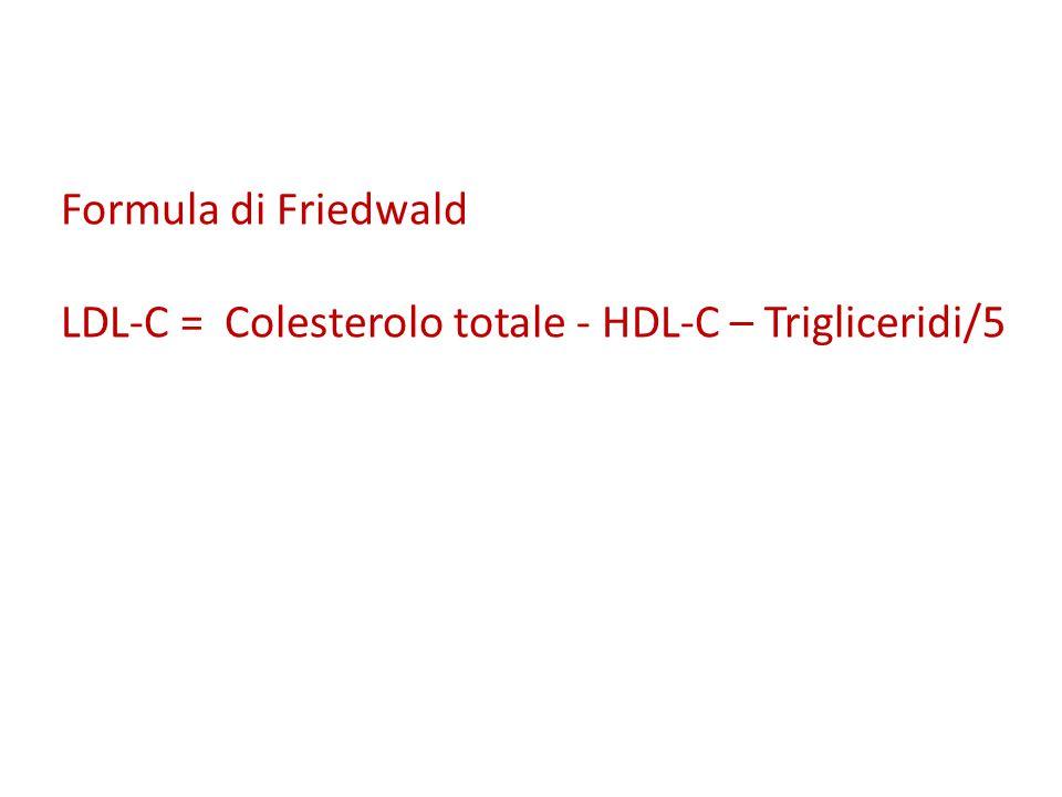 Formula di Friedwald LDL-C = Colesterolo totale - HDL-C – Trigliceridi/5