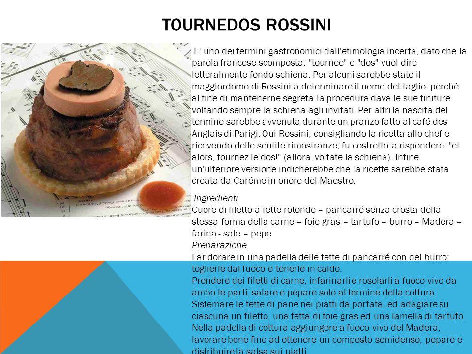 TOURNEDOS ROSSINI E' uno dei termini gastronomici dall'etimologia incerta, dato che la parola francese scomposta:
