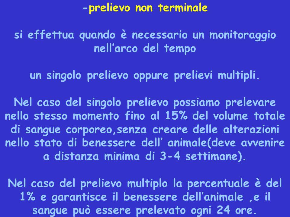 -prelievo non terminale si effettua quando è necessario un monitoraggio nell'arco del tempo un singolo prelievo oppure prelievi multipli. Nel caso del