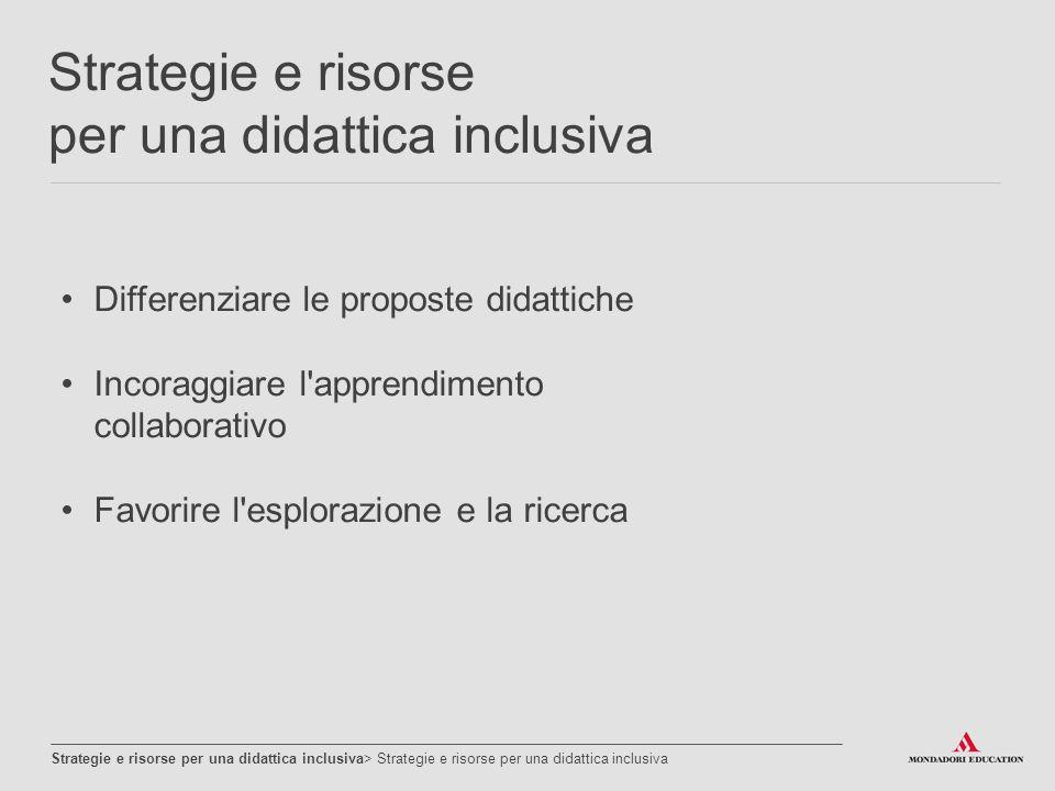 Strategie e risorse per una didattica inclusiva Strategie e risorse per una didattica inclusiva> Strategie e risorse per una didattica inclusiva Realizzare percorsi laboratoriali Promuovere lo sviluppo delle competenze Promuovere la consapevolezza del proprio modo di apprendere