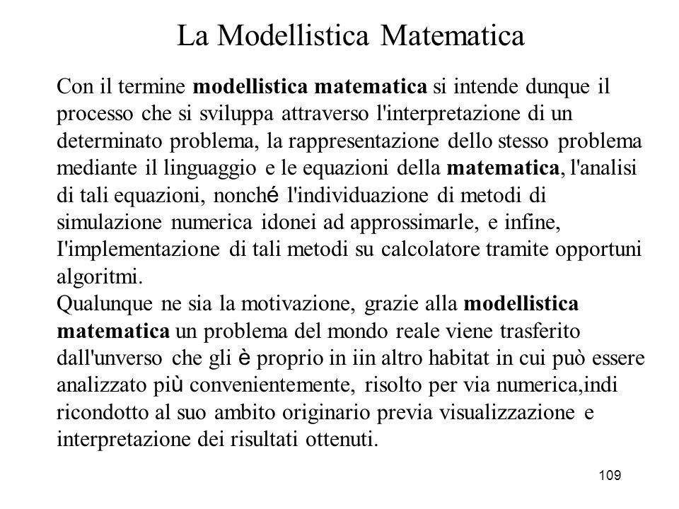 110 Rapporto tra il Modello Matematico e la Realt à Il modello non esprime necessariamente l intima e reale essenza del problema (la realt à è spesso cos ì complessa da non lasciarsi rappresentare in modo esaustivo con formule matematiche), ma deve fornirne una SINTESI UTILE.