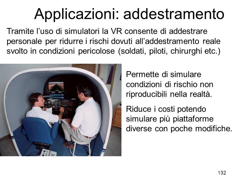 133 Applicazioni: medicina E' possibile simulare un'operazione chirurgica non solo a fini di addestramento, ma anche per pianificare un'operazione reale sulla base dei dati fisicamente rilevati sul paziente.