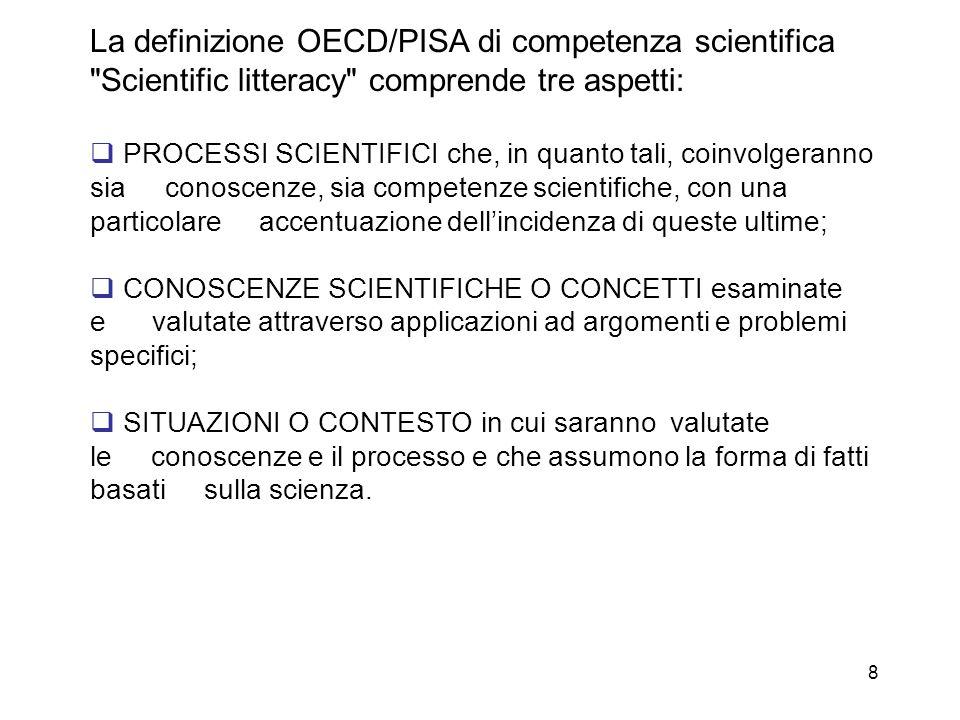 9 Il PISA che accerta le competenze scientifiche è così costruito: a.