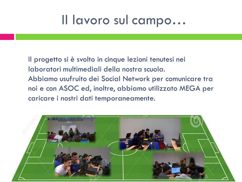Il lavoro sul campo… Il progetto si è svolto in cinque lezioni tenutesi nei laboratori multimediali della nostra scuola.