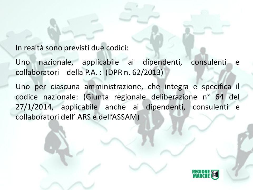 In realtà sono previsti due codici: Uno nazionale, applicabile ai dipendenti, consulenti e collaboratori della P.A.