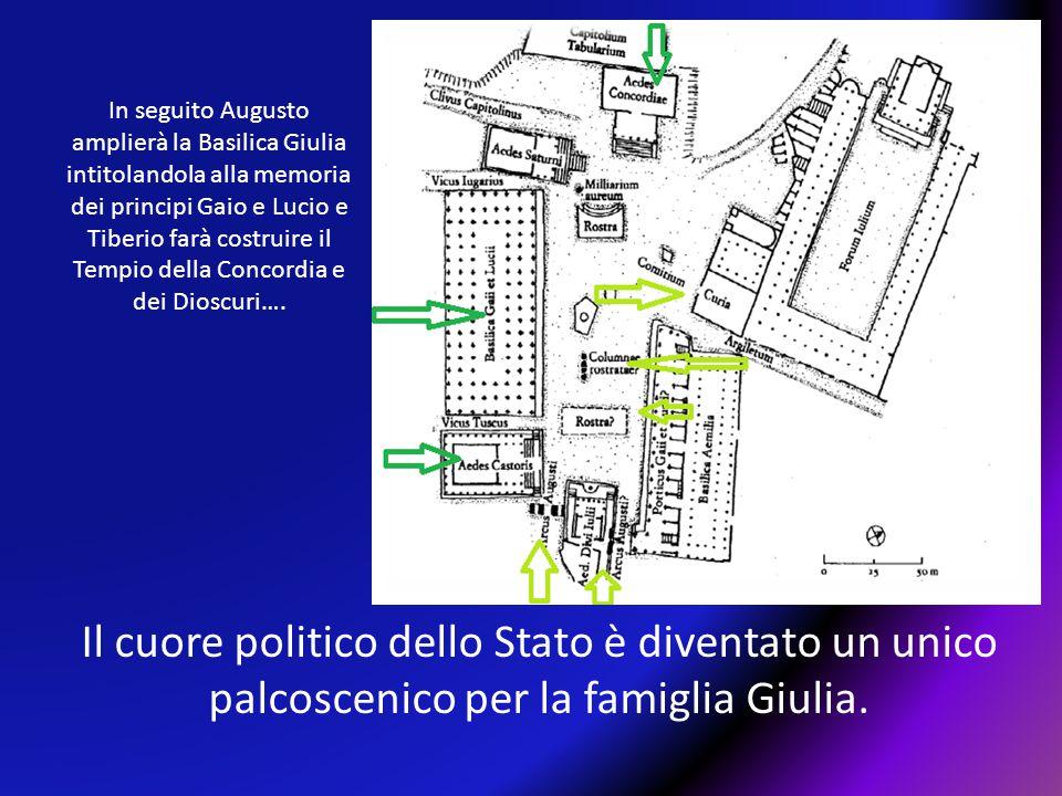 In seguito Augusto amplierà la Basilica Giulia intitolandola alla memoria dei principi Gaio e Lucio e Tiberio farà costruire il Tempio della Concordia