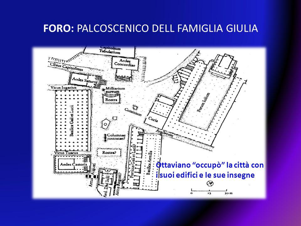 """FORO: PALCOSCENICO DELL FAMIGLIA GIULIA Ottaviano """"occupò"""" la città con i suoi edifici e le sue insegne"""