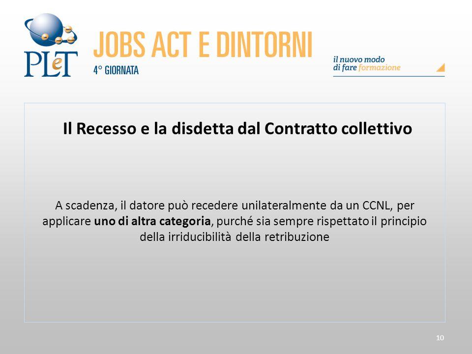 10 Il Recesso e la disdetta dal Contratto collettivo A scadenza, il datore può recedere unilateralmente da un CCNL, per applicare uno di altra categor