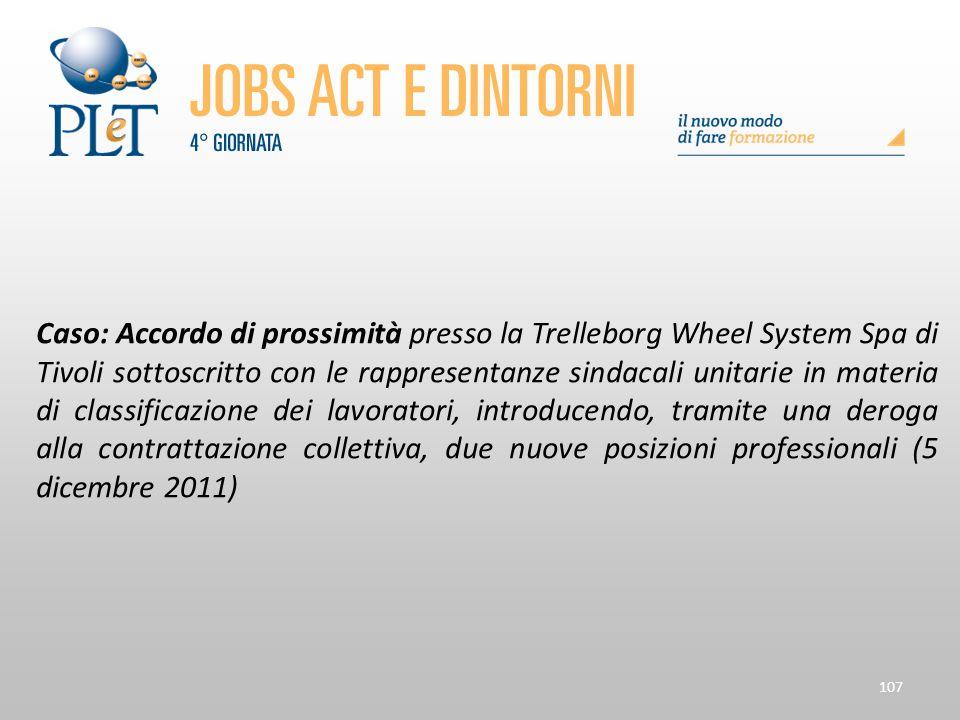 107 Caso: Accordo di prossimità presso la Trelleborg Wheel System Spa di Tivoli sottoscritto con le rappresentanze sindacali unitarie in materia di cl