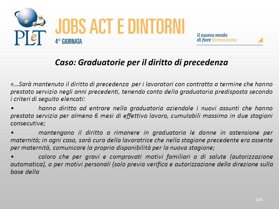 116 Caso: Graduatorie per il diritto di precedenza «…Sarà mantenuto il diritto di precedenza per i lavoratori con contratto a termine che hanno presta