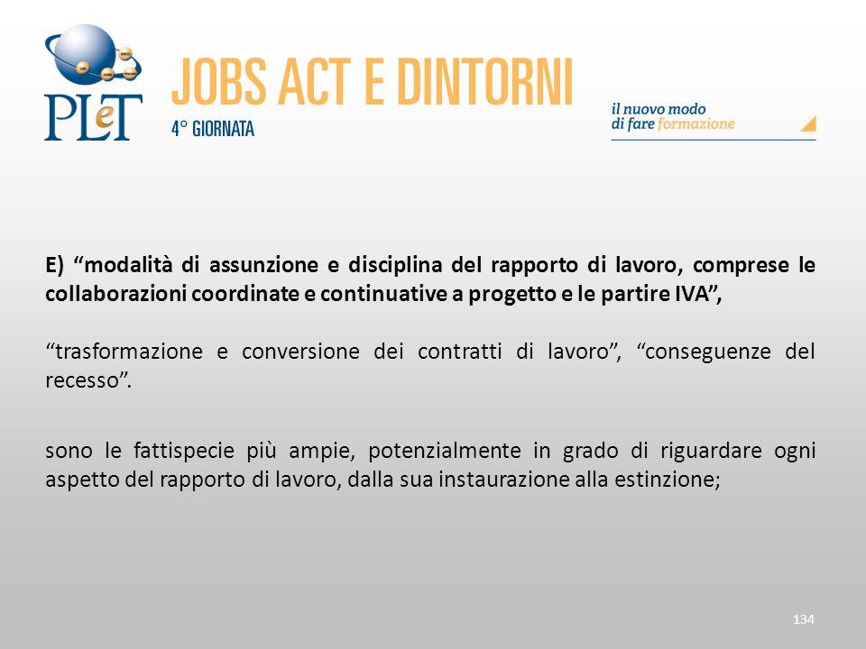 """134 E) """"modalità di assunzione e disciplina del rapporto di lavoro, comprese le collaborazioni coordinate e continuative a progetto e le partire IVA"""","""