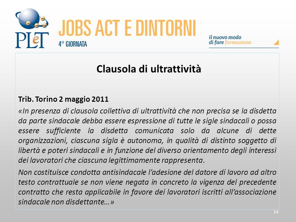 14 Clausola di ultrattività Trib. Torino 2 maggio 2011 «In presenza di clausola collettiva di ultrattività che non precisa se la disdetta da parte sin