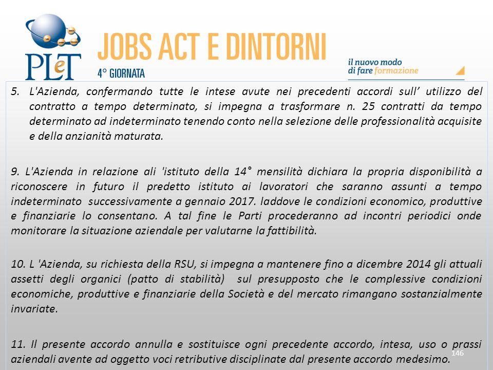 146 5.L'Azienda, confermando tutte le intese avute nei precedenti accordi sull' utilizzo del contratto a tempo determinato, si impegna a trasformare n