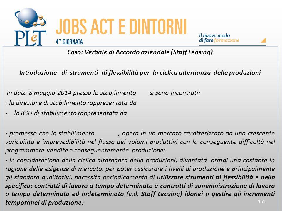 151 Caso: Verbale di Accordo aziendale (Staff Leasing) Introduzione di strumenti di flessibilità per la ciclica alternanza delle produzioni In data 8