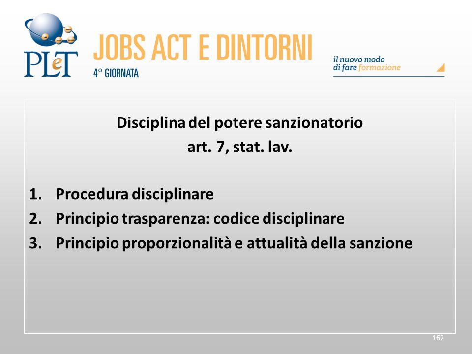 162 Disciplina del potere sanzionatorio art. 7, stat. lav. 1.Procedura disciplinare 2.Principio trasparenza: codice disciplinare 3.Principio proporzio