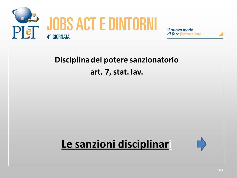 163 Disciplina del potere sanzionatorio art. 7, stat. lav. Le sanzioni disciplinari